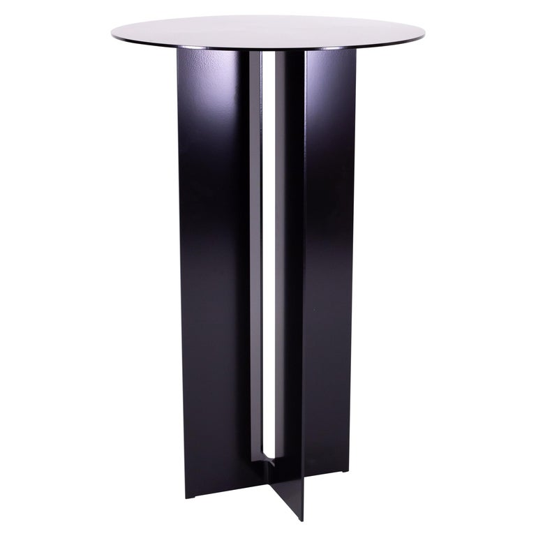 Mers Cafe Table in Powdercoat Aluminum Black For Sale