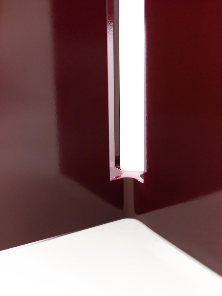 Modern Mers Cafe Table in Powdercoat Aluminum Burgundy For Sale