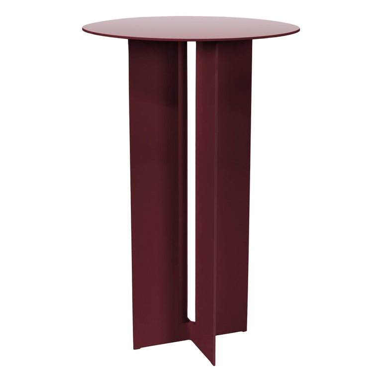 Mers Cafe Table in Powdercoat Aluminum Burgundy For Sale