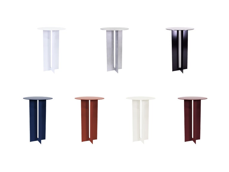 Canadian Mers Cafe Table in Powdercoat Aluminum Cream For Sale