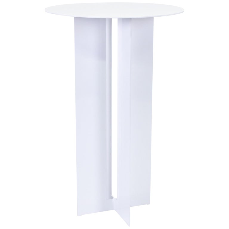 Mers Cafe Table in Powdercoat Aluminum White For Sale