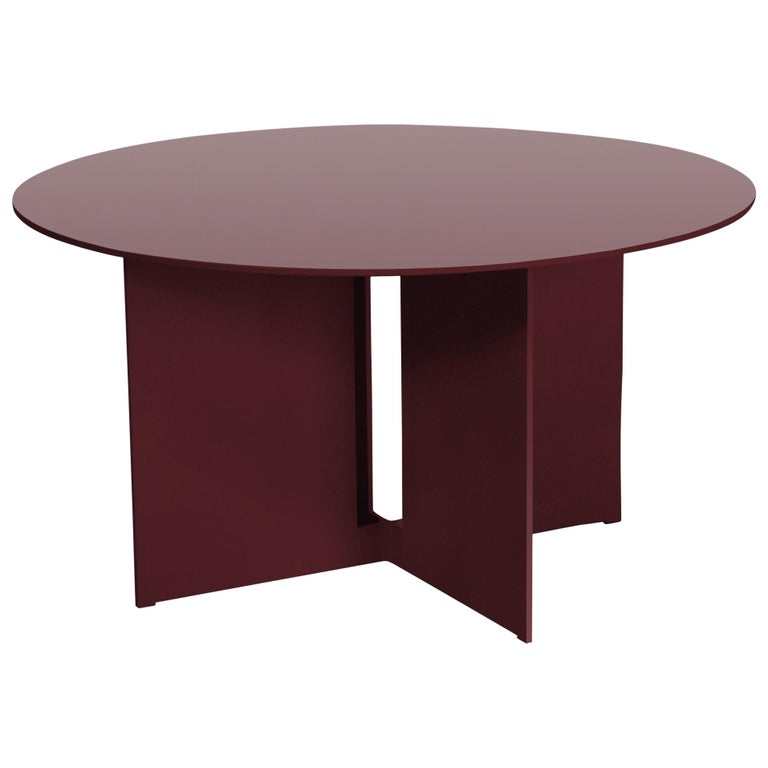 Mers Coffee Table in Aluminum Powdercoat Burgundy For Sale