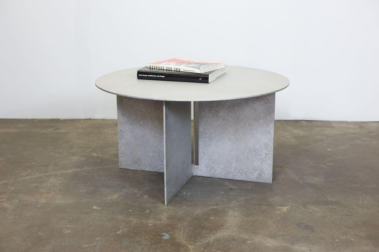 Patinated Mers Coffee Table in Salt Pack Aluminum For Sale