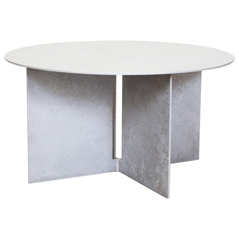 Mers Coffee Table in Salt Pack Aluminum For Sale