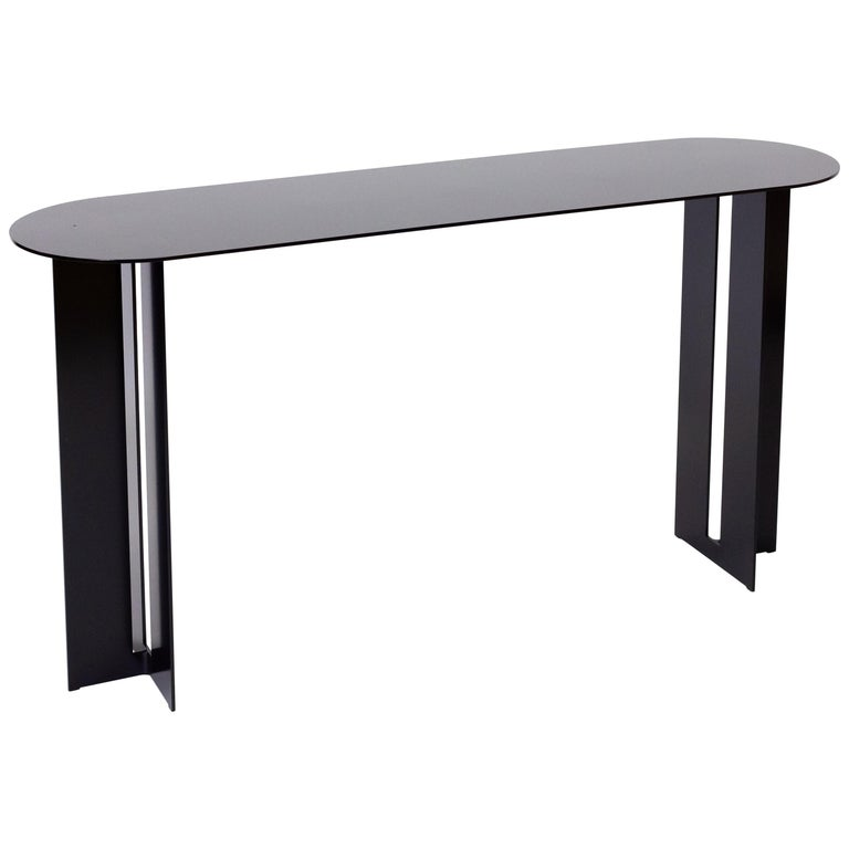 Mers Console Table in Powdercoat Aluminum Black For Sale