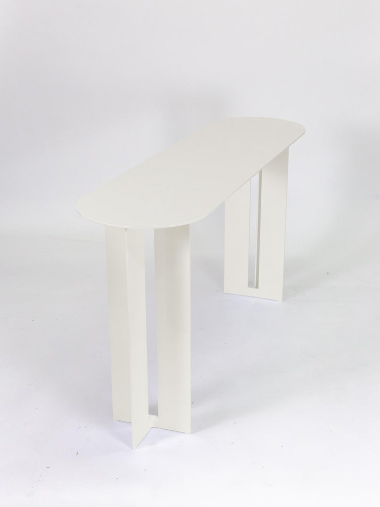 Modern Mers Console Table in Powdercoat Aluminum Cream For Sale