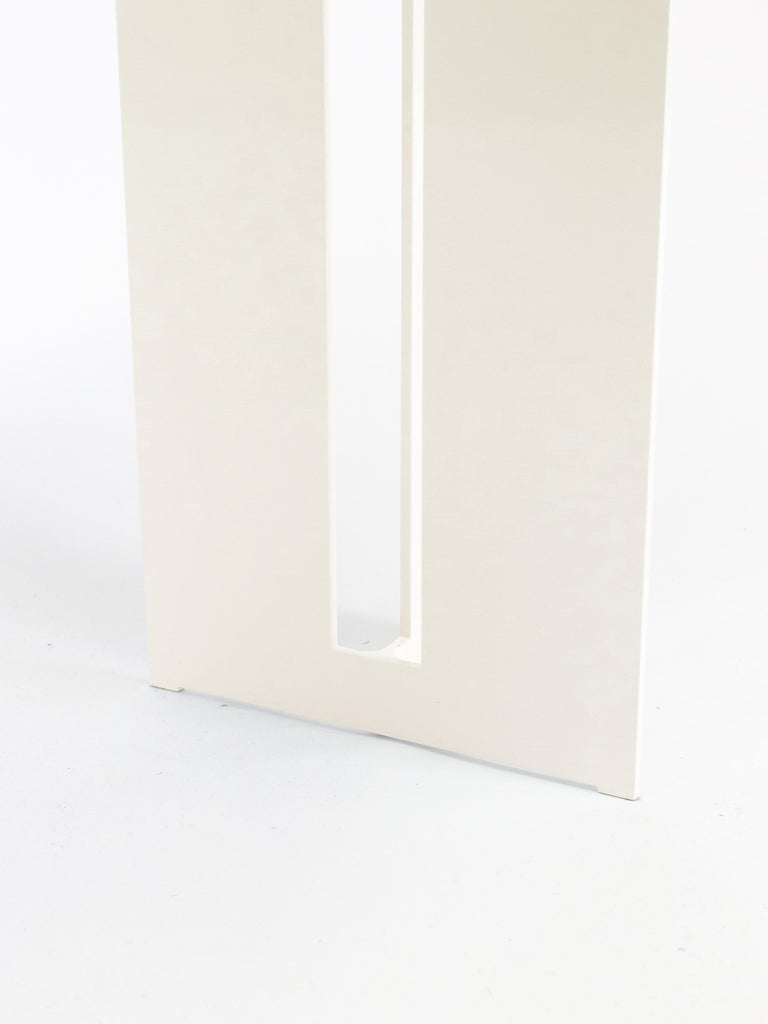 Canadian Mers Console Table in Powdercoat Aluminum Cream For Sale