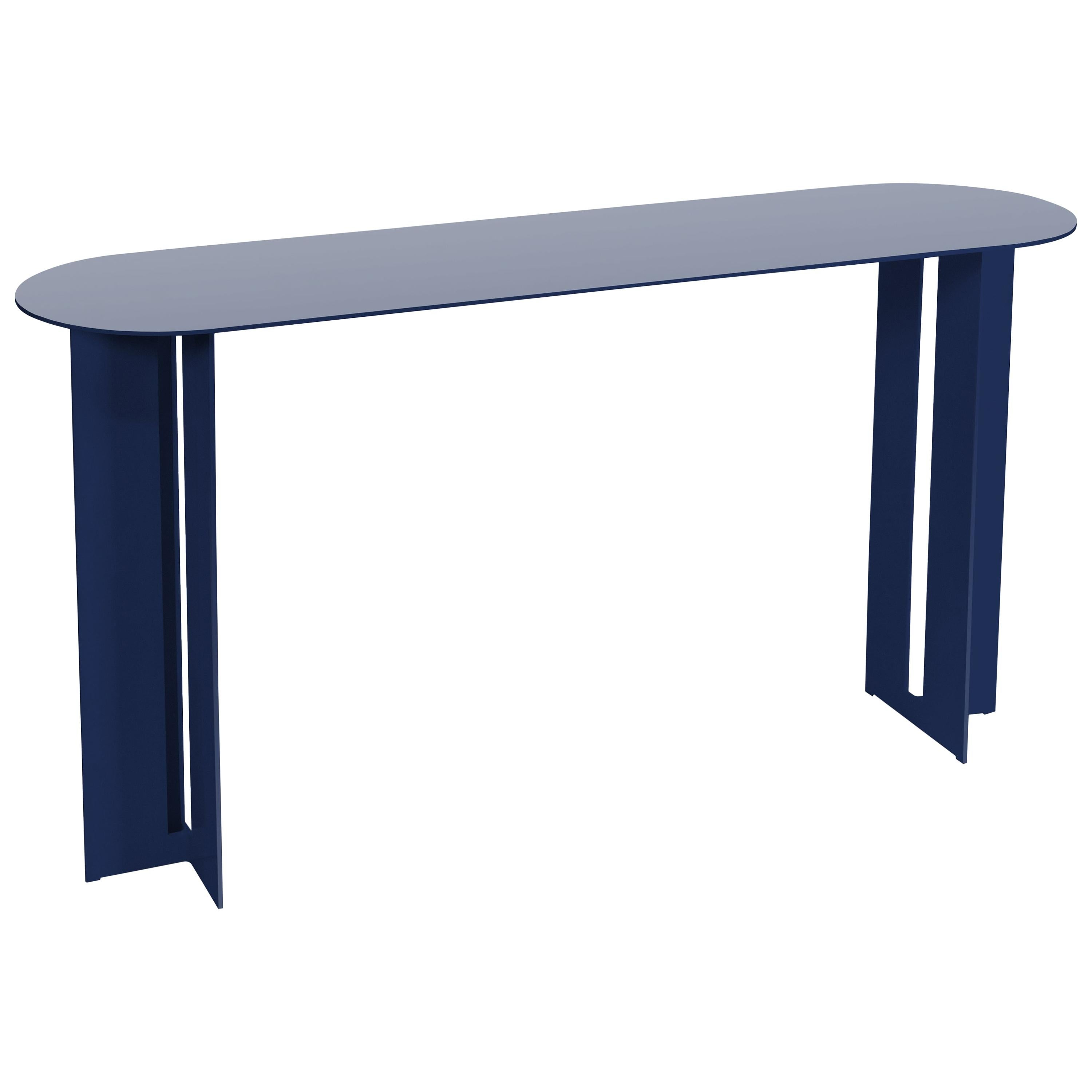 Mers Console Table in Powdercoat Aluminum Pacific Blue