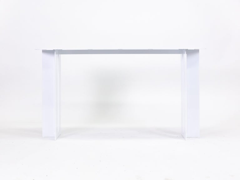 Canadian Mers Console Table in Powdercoat Aluminum White For Sale