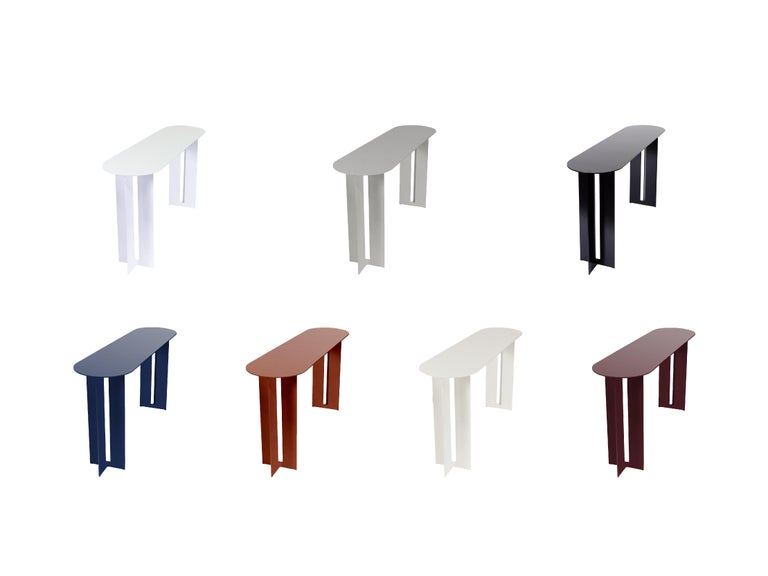 Powder-Coated Mers Console Table in Powdercoat Aluminum White For Sale