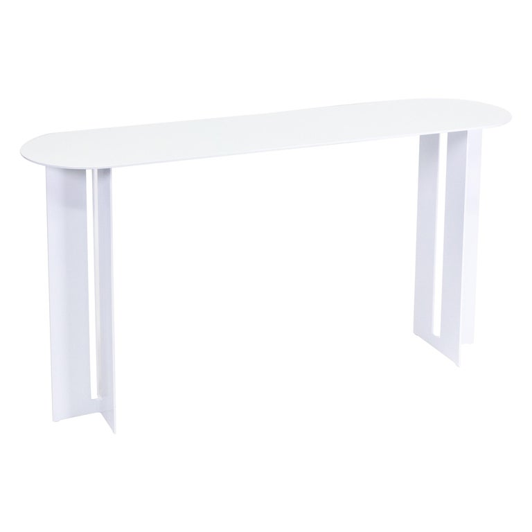 Mers Console Table in Powdercoat Aluminum White For Sale