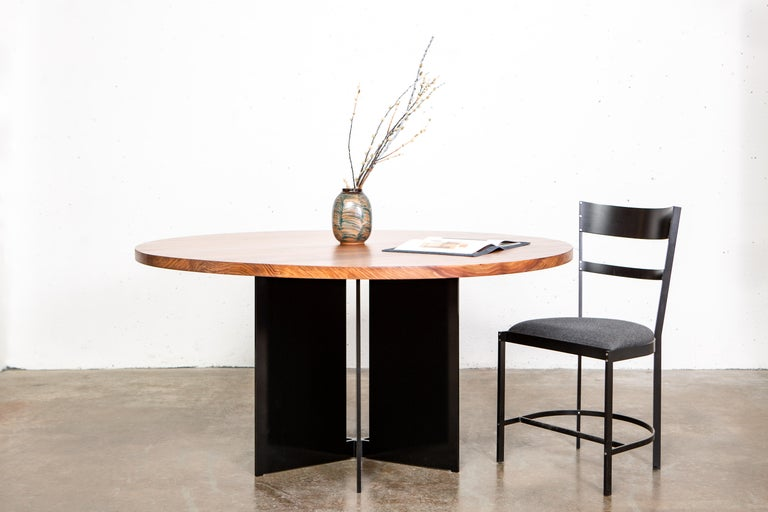 Lacquered Mers Dining Table in Aluminum Powdercoat Black For Sale