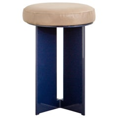 Mers Low Stool in Powdercoat Aluminum Pacific Blue with Upholstered Leather Seat