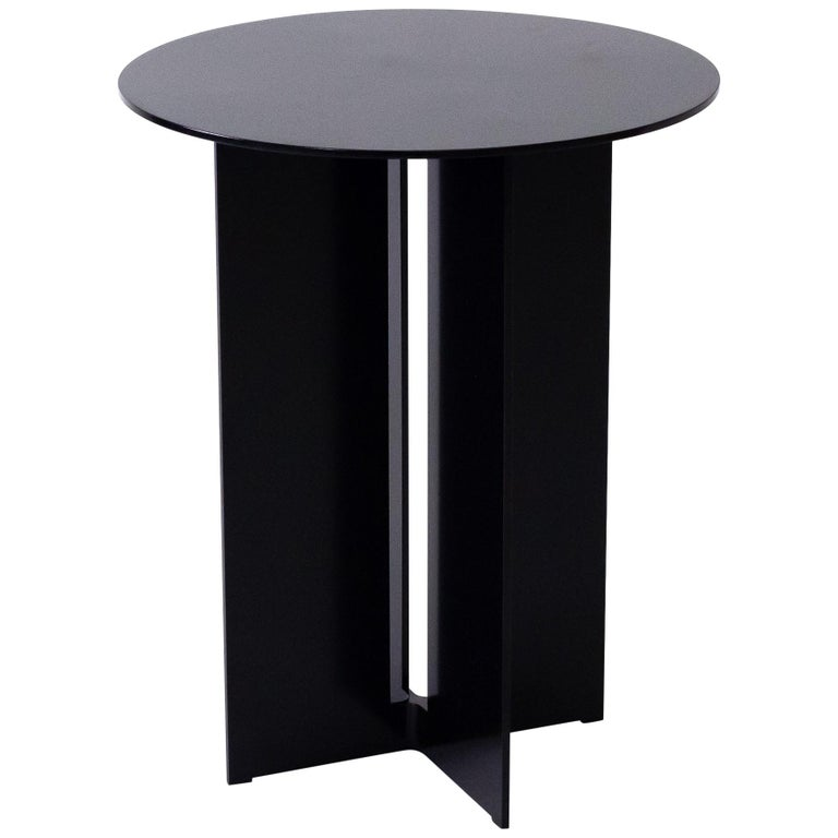 Mers Side Table in Powdercoat Aluminum Black For Sale