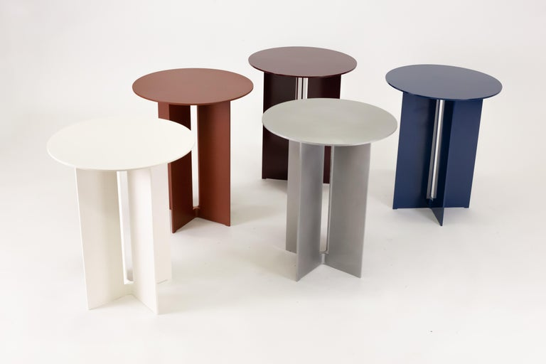 Canadian Mers Side Table in Powdercoat Aluminum Burgundy For Sale