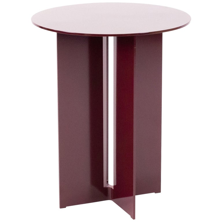 Mers Side Table in Powdercoat Aluminum Burgundy For Sale