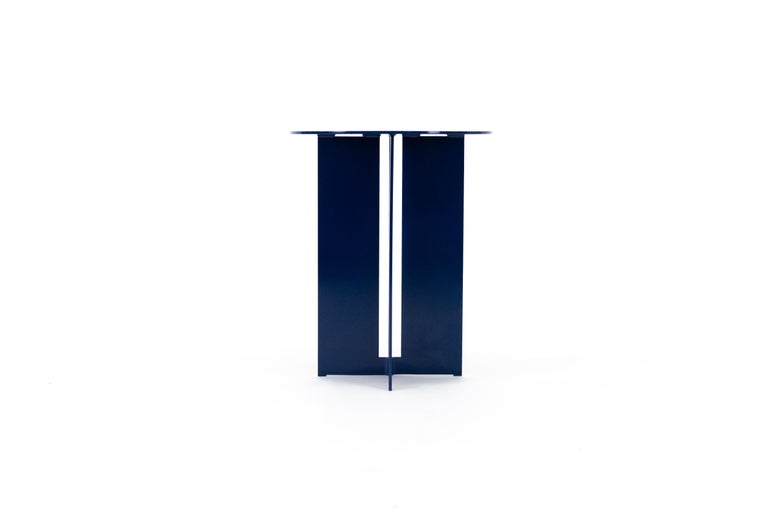 Modern Mers Side Table in Powdercoat Aluminum Pacific Blue For Sale