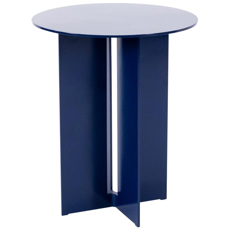 Mers Side Table in Powdercoat Aluminum Pacific Blue For Sale