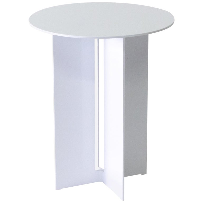 Mers Side Table in Powdercoat Aluminum White For Sale
