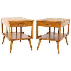 Mersman Mid Century Single Drawer Blonde Oak Nightstand Side End Tables, a Pair
