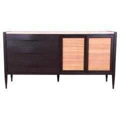 Merton Gershun Black Lacquer and Cane Travertine Top Dresser or Credenza