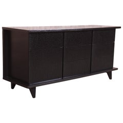 Merton Gershun Black Lacquered Triple Dresser or Credenza, Newly Refinished