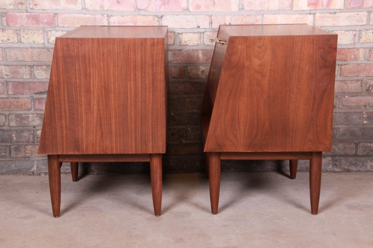 Merton Gershun for American of Martinsville Walnut Nightstands, Newly Restored For Sale 8