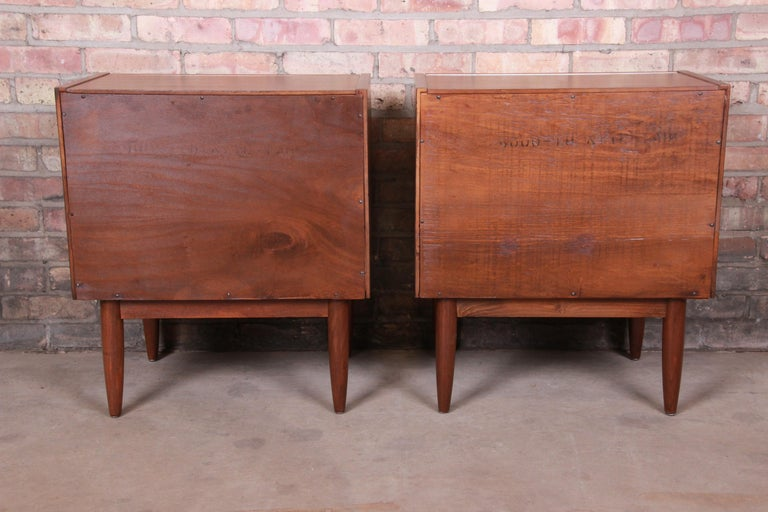 Merton Gershun for American of Martinsville Walnut Nightstands, Newly Restored For Sale 9