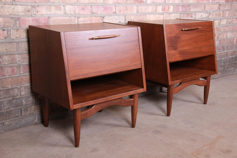 Merton Gershun for American of Martinsville Walnut Nightstands, Newly Restored For Sale 1