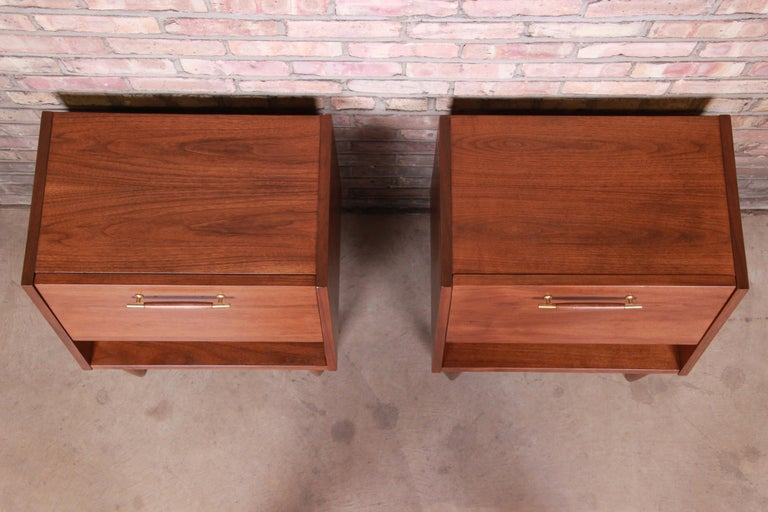 Merton Gershun for American of Martinsville Walnut Nightstands, Newly Restored For Sale 2