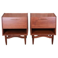 Merton Gershun for American of Martinsville Walnut Nightstands, Newly Restored