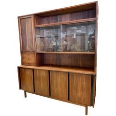 "Merton Gershun for Dillingham ""Esprit"" Walnut Two-Piece Cabinet Credenza Bar"