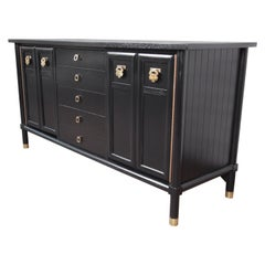 Merton Gershun Hollywood Regency Chinoiserie Ebonized Sideboard Credenza