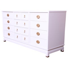 Merton Gershun Hollywood Regency Chinoiserie White Lacquered Dresser, Refinished
