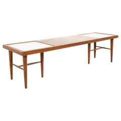 Merton Gershun Mid Century X-Inlaid Walnut and White Laminate Coffee Table
