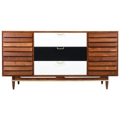 Merton Gershun Two-Tone Lacquered and Walnut Dresser with Brass Accents