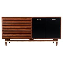 Merton Gershun Walnut Dresser with Lacquered Doors & Brass Accents