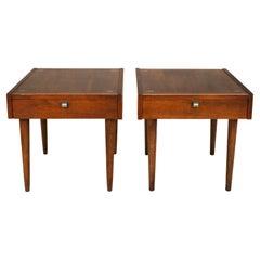 Merton Gershun Walnut End Tables for American of Martinsville