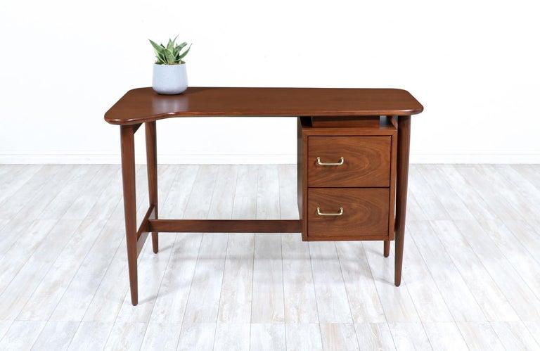 Mid-Century Modern Merton L. Gershun Walnut Writing Desk for American of Martinsville For Sale