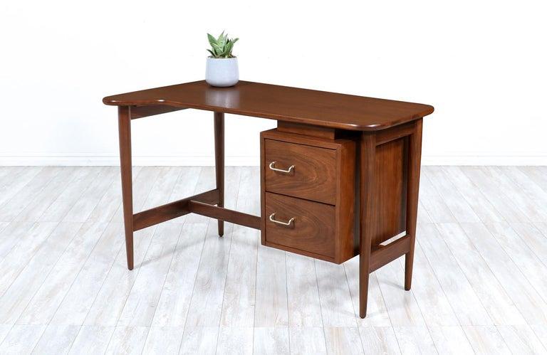 Polished Merton L. Gershun Walnut Writing Desk for American of Martinsville For Sale