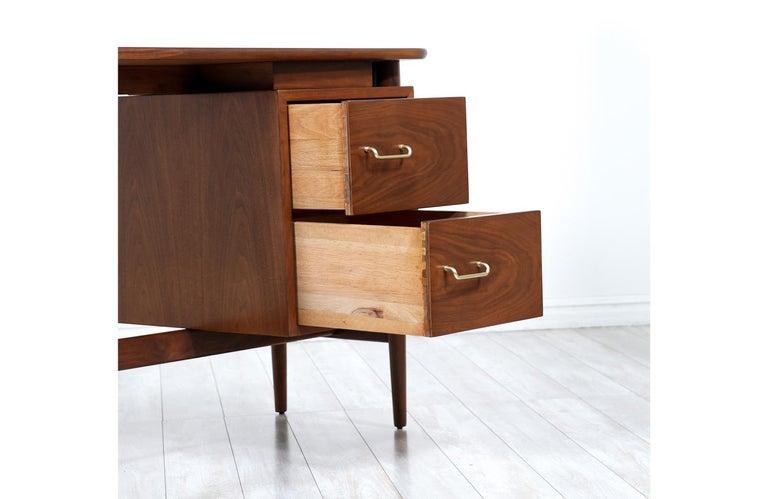 Brass Merton L. Gershun Walnut Writing Desk for American of Martinsville For Sale