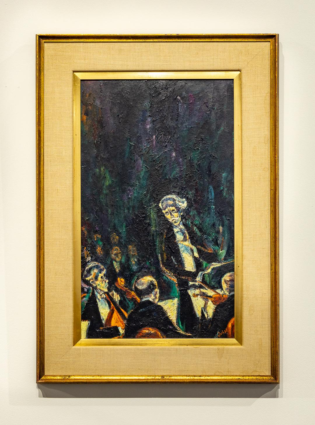 """""""The Conductor"""" Expressionist Oil Painting with Orchestra and Conductor"""