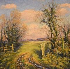 "Oil Painting by Mervyn Goode ""Old Gateposts, Winter Evening Light"""