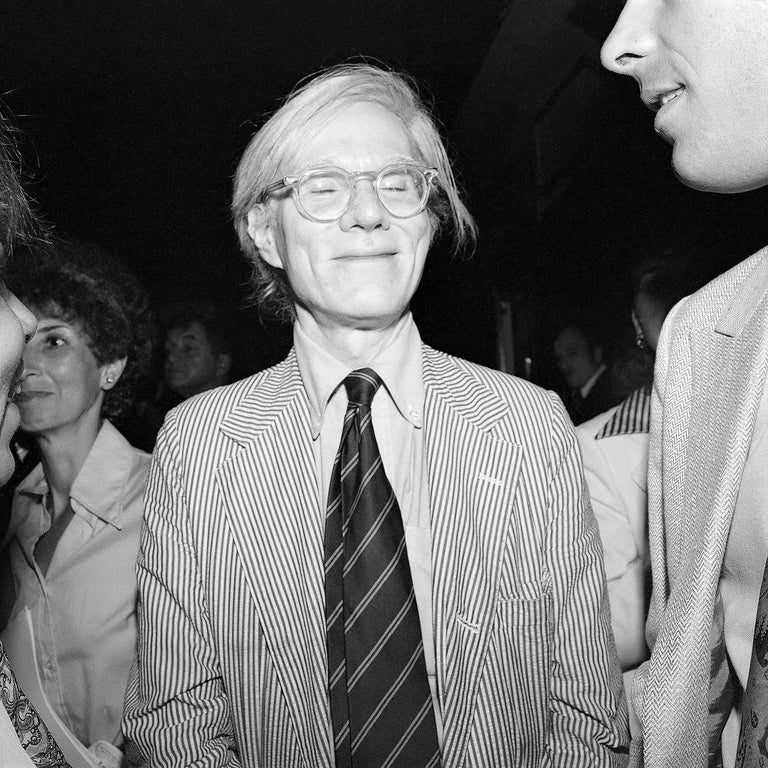 Meryl Meisler Portrait Photograph - Andy Warhol Smiling with Eyes Closed, Studio 54