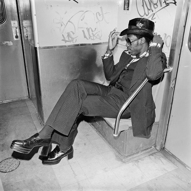 Meryl Meisler Black and White Photograph - Jive Guy on Williamsburg Subway