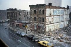 Spring Snowstorm Through Classroom Window Gates Avenue, Bushwick, Brooklyn, NY