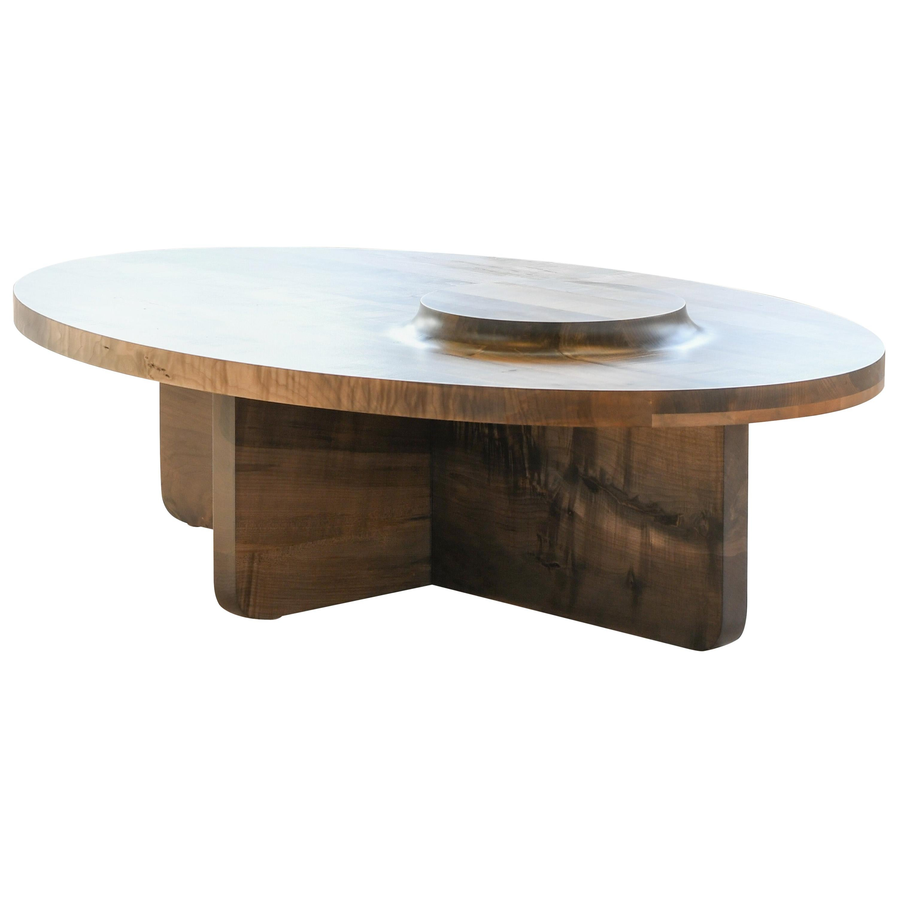 Mesa Table, Hand Carved Oval Coffee Table in Oxidized Maple