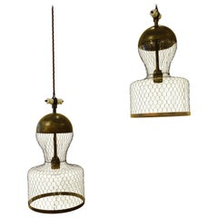 Mesh Covered Pair of Pendant Light Fixtures, Italy, Contemporary