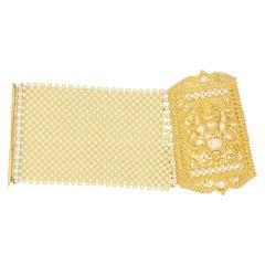 Mesh Pearl Bead Woven 21 Karat Yellow Gold Wide Bracelet Cuff
