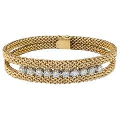 Mesh Woven Round Diamond Bracelet 14 Karat Yellow Gold 1.00 Carat